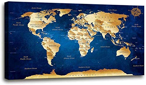 Wall Art Blue map of The World Painting Ready to Hang -30