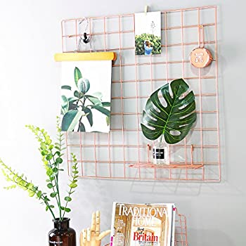 Hosal Rose Gold Grid PanelWall Decor Photo Wall Art Display Organizer Size236 X 236 Pack Of 2 PcsRose Color