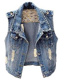 LifeShe Womens Sleeveless Vintage Distressed Ripped Denim Vest Jacket
