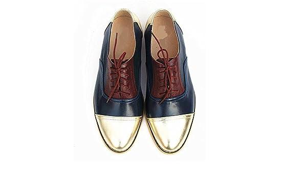 Amazon.com | Frozac Mujeres de Cuero genuino Zapatos Oxford Mujer Hecho a Mano Vintage Retro Encaje mocasines Brown Mujeres Beige Blue red 8 | Sandals