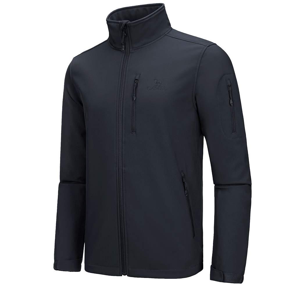 CAMEL CROWN Men's Softshell Fleece Lined Waterproof Windproof Jacket Full Zip Lightweight Outdoor Winter Coat Black XXXL by CAMEL CROWN