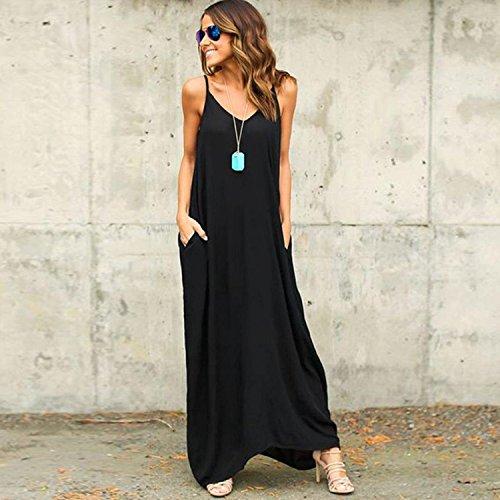 Vestido De Mujer Vestido De Playa Mangas Largo Minetom Verano Negro2 Graduación Cabestro Vestidos Sin Fiesta Casual OCvFqn4a