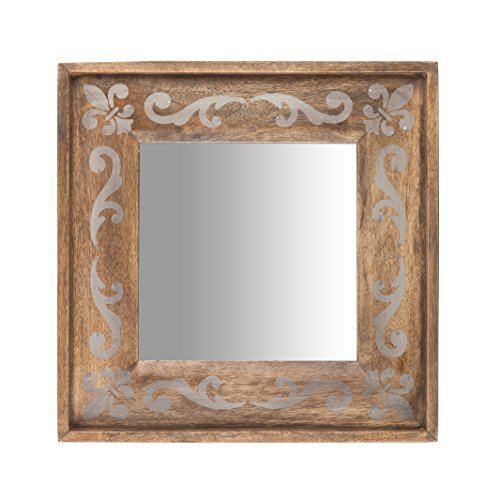The Gerson Company 93527 14''X14'' Meadowlark Home Collection Hand Made Mango Wood Fleur DIS Lis Pattern Mirror (Meadowlark Collection)