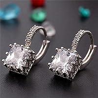SujareeShop Eardrop Copper Square Diamond Jewelry Hoop Earrings Crystal Cubic Zirconia (color white)