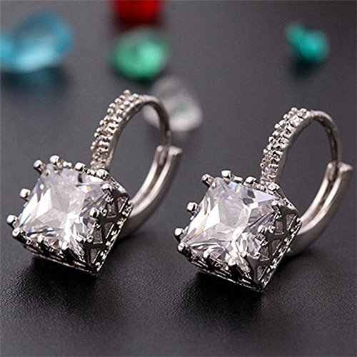 Price comparison product image SujareeShop Eardrop Copper Square Diamond Jewelry Hoop Earrings Crystal Cubic Zirconia (color white)