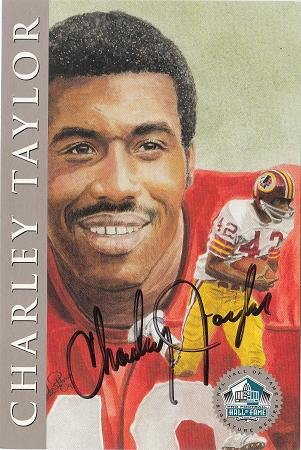 (Autographed Charley Taylor Washington Redskins Ron Mix Hall of Fame Card with COA)