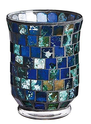 Gifted Living Mosaic Glass Candle Holder, Indigo Blue