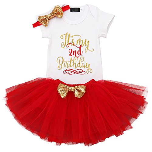 IMEKIS Baby Girls Romper Suit Princess Ruffle Bowknot Dress Wedding Pageant Communion Party Tutu Dresses Red 2nd Birthday 2 -
