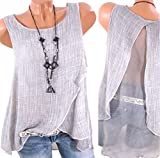 Nicetage Womens Chiffon Blouse Vest Sleeveless Shirt Casual Summer Backless Plus Size Tank Tops Wangsha Gray XXXXL
