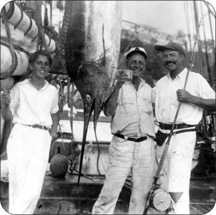 4コースターのセットのコルクBacking Ernest Hemingway in Key West釣り   B07FP4CL8G