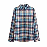T Shirt, Han Shi Women's Wild Plaid Shirt Long Sleeve Blouse Ladis Girls Casual V Neck Slim Tee Cotton Tops Streetwear Button Camisole Outfit (XXXXXL)