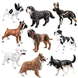 TOYMANY 9PCS Dog Figurines, High Emulational Detailed Dog Figures Set, Hand Painted Dog Toy Set for Kids Toddlers