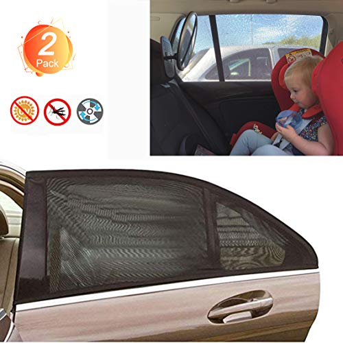 - Car Window Sun Shade Universal Fit Most of Cars Baby SUV Rear Windows Sun & Bug Shield for Road Trip Camping Breathable Mesh 100% Cover Car Side Window 2 Pack