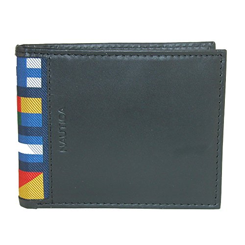Nautica Men's Mclures Leather Slim RFID Protected Passcase Bifold Wallet (Black) (Nautica Leather Wallet)