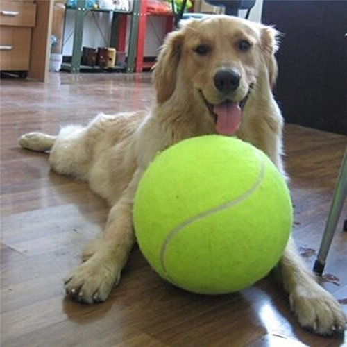 ECOOLBUY 24CM 9.5inch Tennis Ball For Dog Cat Pet Chew Toy Big Inflatable Tennis Ball Signature Mega Jumbo Pet Toy Ball Supplies Outdoor Cricket With Ball Inflate Kit