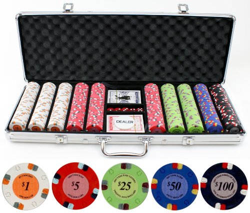 13.5g 500pc Lucky Horseshoe Clay Poker Chips Set by JPC