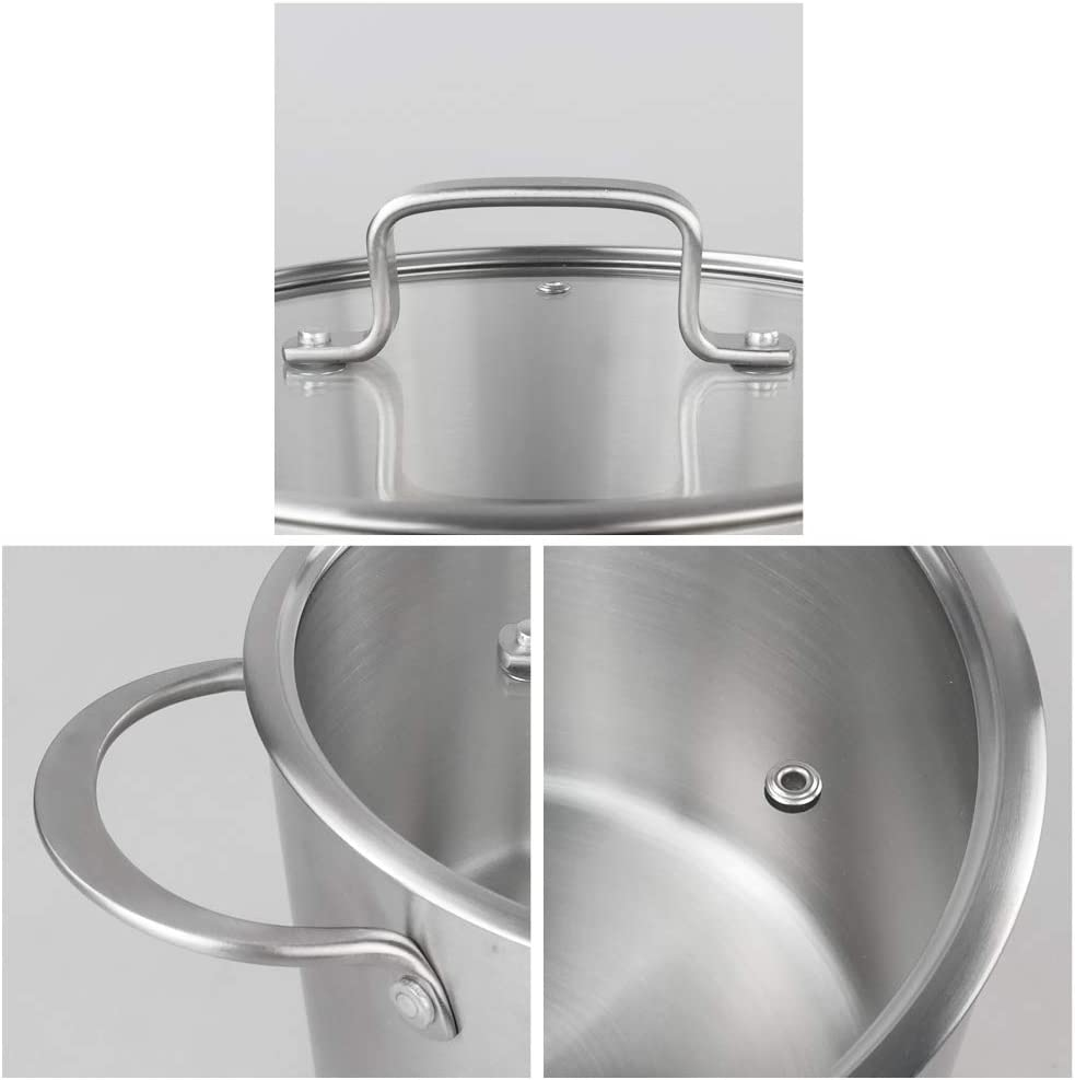 CadineUS 5-ply Stainless Steel Stock Pot with Glass Lid Dishwasher Safe