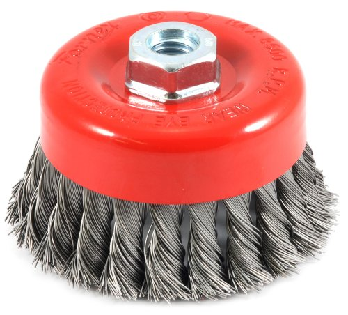 Forney 72753 4-Inch by 5/8-11 Knotted Cup Brush .020 Carbon Steel