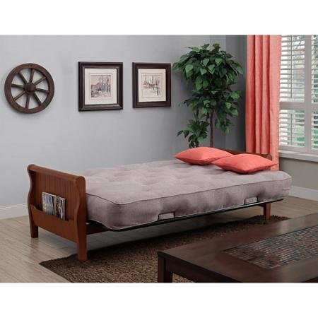 amazon    better homes and gardens wood arm futon with coil mattress  taupe   kitchen  u0026 dining amazon    better homes and gardens wood arm futon with coil      rh   amazon