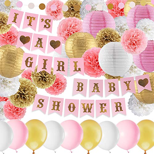 Baby Shower Decorations for Girl Pink and Gold Baby Girl Shower Decorating Kits with Banner, Balloons, Pom Poms Flowers, Paper Lantern, Paper Garland
