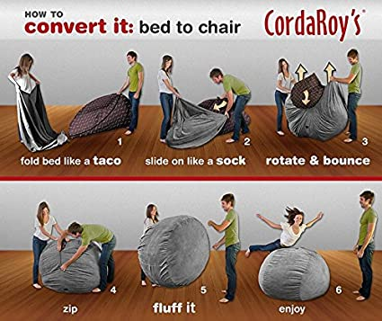 amazoncom charcoal chenille convertible bean bag chair full kitchen u0026 dining - Giant Bean Bag Chairs