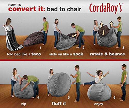 Amazon CordaRoys Chenille Bean Bag Chair Charcoal Full Kitchen Dining