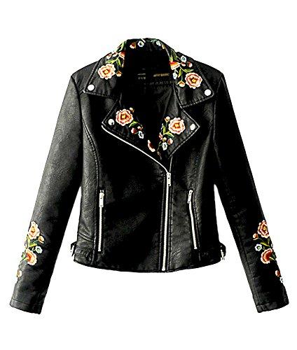 Lapel Multi Embroidered Black Artificial Short Asymmetric Autumn Outwear Womens Biker Leather Zipper Sleeve Long Jacket Winter Tomwell xqwYApFnU