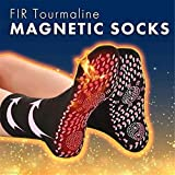 Tuscom Self Heating Socks, Unisex FIR Tourmaline Magnetic Socks Health Care Therapy Magnetic Socks Comfortable Breathable Massage Crew Socks for Hiking, Skiing, Snowboarding (Red)