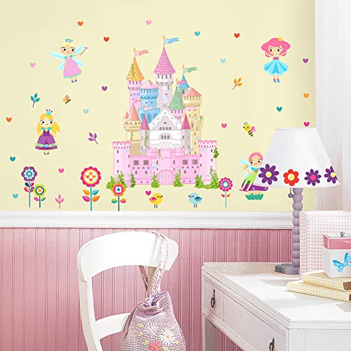 HaokHome W-11501 Fairy Flower Princess Wall Sticker Castle for Girls Room Bedroom Living Room Home Decor
