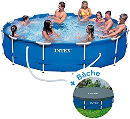 RAVIDAY Pack Piscina Tubular Intex Metalframe 3.66 x 0.76 m + Lona: Amazon.es: Deportes y aire libre