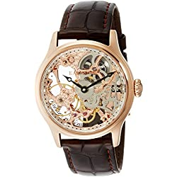 Thomas Earnshaw Men's 'BAUER MACHANICAL SKELETON' Mechanical Hand Wind Stainless Steel and Leather Dress Watch, Color:Brown (Model: ES-8049-03)