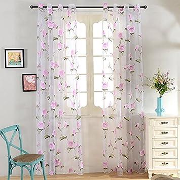 Amazon top finel pink flower window treatments sheers curtains top finel pink flower window treatments sheers curtains panels 76 x 84 inch length set of mightylinksfo