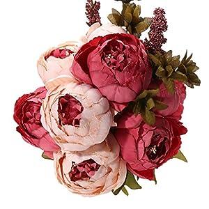 Uworld Artificial Flowers Silk Plastic Fake Peony Flower Vintage Peonies Bouquet DIY Wreath for Home Wedding Centerpieces Décor (Dark Pink) 113