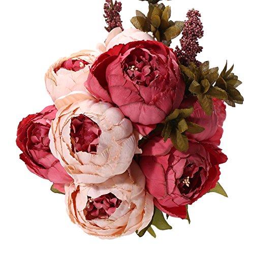 Uworld Artificial Flowers Silk Plastic Fake Peony Flower Vintage Peonies Bouquet DIY Wreath for Home Wedding Centerpieces Décor (Dark Pink)