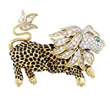 David Webb Enameled 18K Yellow and White Gold Diamond Pave Emerald Leapon Brooch