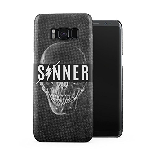 Black Realistic Grunge Sinner Human Skull Plastic Phone Snap On Back Case Cover Shell Compatible with Samsung Galaxy S8 Plus Black Skull Protector Case
