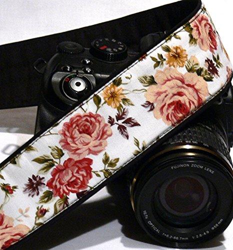 Roses Camera Strap. DSLR Camera Strap. Canon Nikon Camera Strap. Black and beige camera strap. Camera Accessories; 027