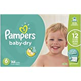 Pampers Baby-Dry Disposable Diapers Size 6, 144 Count, ONE Month Supply