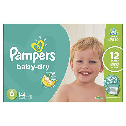 Pampers Baby-Dry Disposable Diapers Size 6, 144 Count, ONE MONTH SUPPLY by Pampers