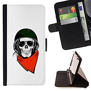 For HTC One M9 Biker Helmet Motorcycle White Skull Leather Foilo Wallet Cover Case with Magnetic Closure