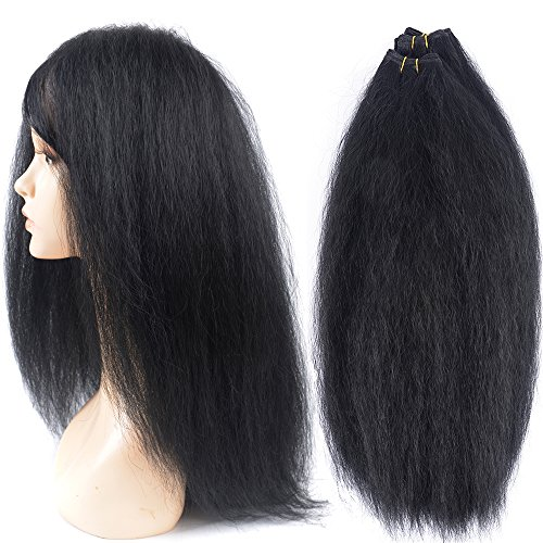 - N&T Hair Extension Yaki Straight Hair Weave Bundles With Closure Natural Color 5 pcs (16 16 18 18 With 16)