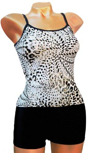 Tankini Bademode Boy Leg Snow Leopard bis zu Größe 24Made in der UK