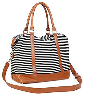 CAMTOP Ladies Travel Tote Bag Canvas Weekend Overnight Carry On Shoulder Duffel Bags for Women PU Leather Trim