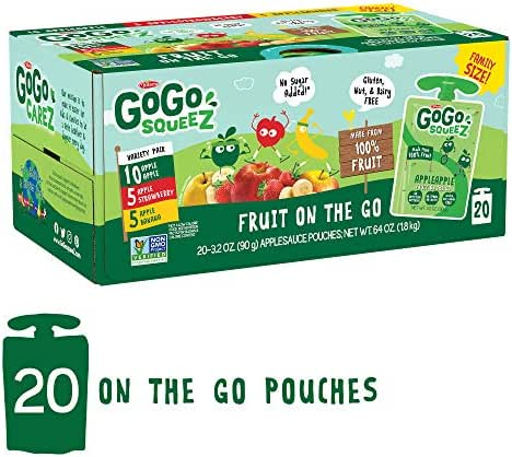 GoGo squeeZ Applesauce on the Go, Variety Pack (Apple Apple/Apple Banana/Apple Strawberry), 3.2 Ounce (20 Pouches), Gluten Free, Vegan Friendly, Healthy Snacks, Unsweetened, Recloseable BPA Free Pouch