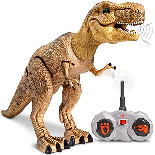 Discovery Kids Remote Control RC T Rex Dinosaur Electronic Toy Action Figure Moving & Walking Robot w/ Roaring Sounds & Chomping Mouth, Realistic Plastic Model, Boys & Girls 6 Years Old+ -