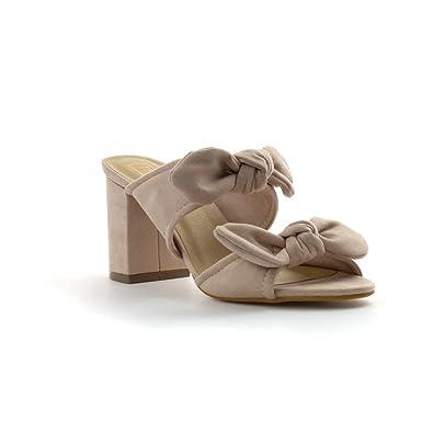accaf0417 Truffle Womens Nude Bow Block Heel Mule Sandal: Amazon.co.uk: Shoes ...