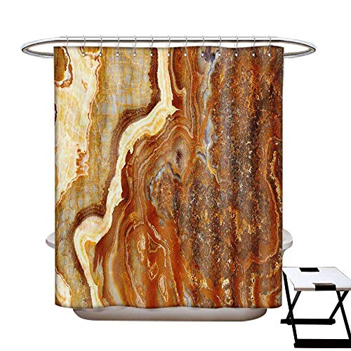(BlountDecor Marble Shower Curtains Sets Bathroom Unique Earthen Toned Mother Earth Natural Travertine Structures Display Satin Fabric Sets Bathroom W69 x L70 Cinnamon Earth Yellow)