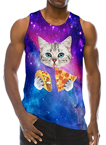 Loveternal Men's Cute Pizza Cat 3D Printed Graphic Tees Boys Casual Slim Ringer DJ Summer Sleeveless T-Shirt Workout Sports Bro Tank Top L
