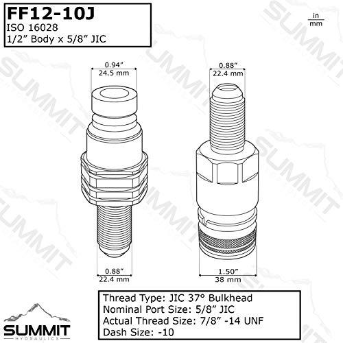 #10 JIC Thread 1//2 Flat Face Quick Connect Coupler For Case 435 445 40XT 60XT