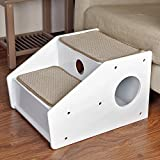 Petsfit 2-Steps Pet Stairs Cat Stairs Dog Stairs for Elderly Cat Dogs with Short Legs and Long Body 53cm Deep,43cm W x 35cm H,White